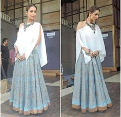 Payal Khandwala # Malaika Arora Khan # fusion Indian look# Western Dresses, Indian Dresses, Indian Skirt, Indian Wedding Outfits, Indian Outfits, Indian Attire, Indian Wear, Indian Look, Indian Designer Wear