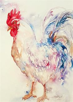 "Daily+Paintworks+-+""Rainbow+Rooster""+-+Original+Fine+Art+for+Sale+-+©+Arti+Chauhan"