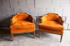 Vintage Orange Felt Mid Century Chair Pair by CushionFever on Etsy