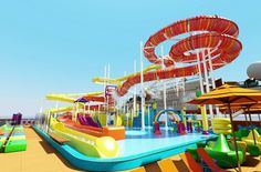 Water Works fun pool on Carnival Vista - cruising with a baby and toddler