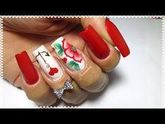 Unhas decoradas flor vermelha one stroke e âncora com coração Manicure, Nails, Tabata, Beauty, Youtube, Nail Art Flowers, Flower Nails, Heart Nails, Gel Nail