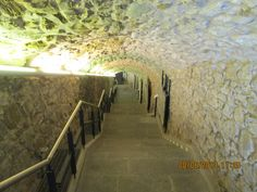Steps leading to the Roman exhibits at San Giusto Cathedral.  www,geoffburras.com