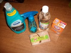 Over the Rainbow and Through the Woods: DIY Carpet Cleaner What You'll Need: Small spray bottle 1 teaspoon dish washing liquid 1 tablespoon white vinegar 1 cup warm water 1 teaspoon baking soda Clean absorbent towel Clean sponge