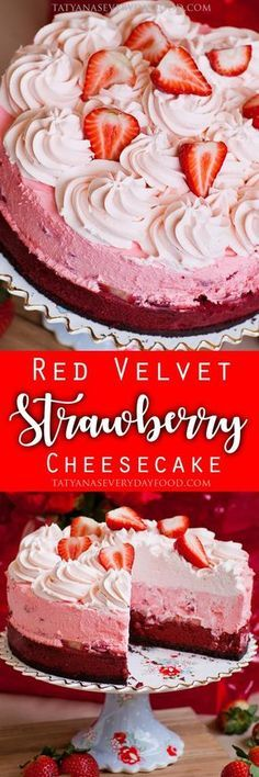 Triple layer red velvet cheesecake with a chocolate crust, a strawberry mousse layer and strawberry whipped cream topping! View Recipe Link