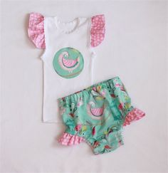 Girl singlet and nappy cover set size 000 to 2 - peacock