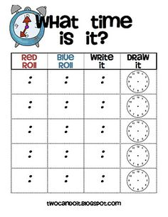 Here's an activity where students roll dice, one for the hour and one for the minute, and then record and draw the time.