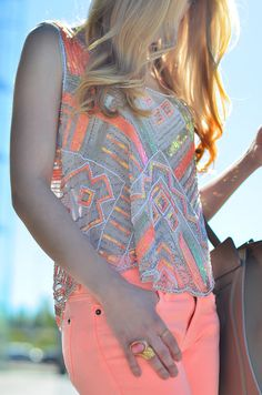 Grey and Neon Salmon Outfit
