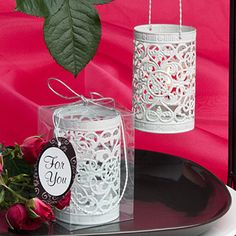 White Metal Filigree Design Luminary Favor $1.35 each