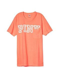 Victoria's Secret PINK Campus Short Sleeve T Shirt DESCRIPTION Campus short sleeve Relaxed fit Crew neckline Soft jersey blend 100% cotton Color: Orange Size: Medium