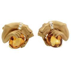 Carrera y Carrera Citrine Diamond Gold Panther Cufflinks