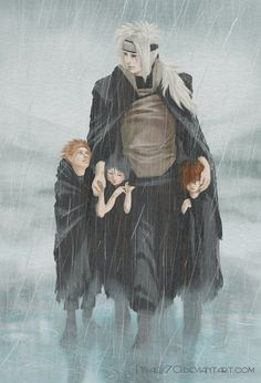"""Children of the rain"" featuring Jiraiya, Yahiko, Konan and Nagato (Naruto) | by Nivalis70 on deviantART"
