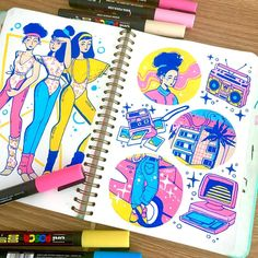 Doodling up some possible stickers for next year! 💖 I think posca is still by… Doodling up some possible stickers for next year! 💖 I think posca is still by far my favourite traditional medium I've used, it's just so… Marker Kunst, Marker Art, Pen Art, Kunstjournal Inspiration, Sketchbook Inspiration, Sketchbook Ideas, Pretty Art, Cute Art, Molotow Marker