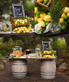 the decoration of my tables: Ideas for parties: Decorating with lemons Lemonade Wedding, Sorrento, Italian Party, Italian Theme, Lemon Party, Tuscan Wedding, Dinner Themes, Bridal Shower Party, Laura Lee
