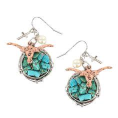 Shyanne Longhorn Hook Earrings Turquoise Silver