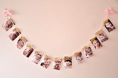 """""""Pink and Gold First Birthday Photo Banner."""" Confetti Mommas monthly photo banner can be the perfect way to show off all of your babys photos from their first year of life! Gold First Birthday, First Birthday Photos, Baby 1st Birthday, 1st Birthday Parties, Birthday Door, Pink Birthday, Birthday Ideas, Birthday Photo Banner, Birthday Garland"""