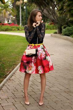 STYLE INSPIRATIONS --  Feminine Chic  >>  Romper: Kocca. Belt: Ted Baker. Skirt: Ted Baker. Bag: Diane Von Furstenberg. Shoes: Ted Baker.