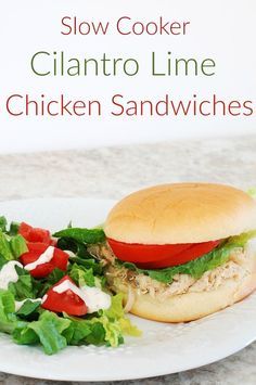 Slow Cooker Cilantro Lime Chicken Sandwiches