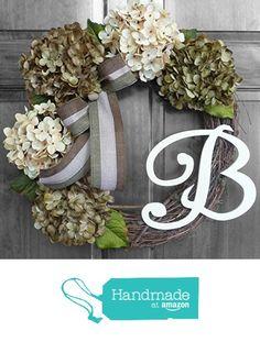 Year Round Monogram Wreath - Hydrangea Wreath from Refined Wreath http://www.amazon.com/dp/B01A8PHNCO/ref=hnd_sw_r_pi_dp_AhqJwb1THNRMD #handmadeatamazon