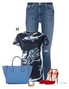 """""""Sometimes you just need a pair of red pumps!"""" by ksims-1 ❤ liked on Polyvore featuring Frame Denim, Diesel, Christian Louboutin, Moreau and Urbiana"""