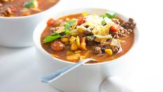 Beef Taco Tortilla Soup-my tweak 6 C chicken broth, 1 can of each-kidney beans, black beans, corn. 2-4 T salsa, 1T Tumeric, 1T Cumin, 1T-Black pepper, 1T-Cayenne 2T Lemon or lime juice, 1/4 C Taco Seasoning mix,