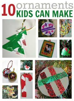 10 easy Christmas ornament crafts kids can make. { Great for class/holiday parties} Easy Christmas crafts for kids. Preschool Christmas, Christmas Crafts For Kids, Christmas Activities, Christmas Projects, Holiday Crafts, Holiday Fun, Holiday Parties, Kid Crafts, Easy Christmas Ornaments