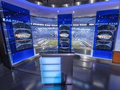 KXAS-TV, the NBC O&O in Dallas-Ft. Worth and its sister station, Telemundo station KXTX-TV, have released a sneak peak of their new studio sets, which Tv Set Design, Stage Set Design, Tvs, Virtual Studio, Tv Sets, News Studio, Living Room Tv, World Of Sports, New Set