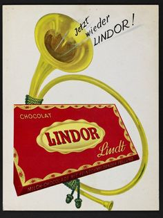 For an irresistible gift for another, or an indulgent escape for yourself, Lindt is the answer. Rich and savory chocolates go into every box. Vintage Advertising Posters, Vintage Advertisements, Vintage Posters, Swiss Chocolate, Cocoa Chocolate, Toblerone, Chocolat Lindt, Dove Chocolate Discoveries, Chocolates
