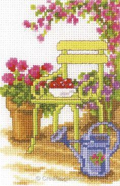 Mini point de croix en kit la chaise du jardin - Vervaco