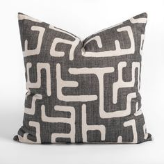 This faded charcoal and sandy beige pillow will add the subtle graphic impact your space is craving. The abstract and dynamic pattern has a hand-blocked look, and delivers artisanal flair with a modern edge. Beige Pillows, Throw Pillows, Large Sofa, Pillow Inserts, Swatch, Charcoal, Artisan, Fabric, Pattern