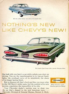1959 Chevrolet Impala Sport Coupe and Bel Air Advertising Readers Digest December 1958