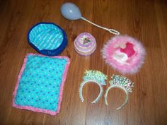 American Girl pet accessory lot - Coconut Birthday cake balloon party hat pillow