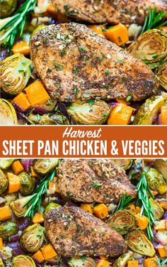 ONE PAN Paleo Harvest Sheet Pan Chicken Dinner with Sweet Potatoes, Apples, and Brussels Sprouts. Easy and healthy one pan recipe that's perfect for busy weeknights! You'll love the warm, comforting m Sweet Potato Dinner, Sweet Potato And Apple, Sweet Potato Recipes, Fall Dinner Recipes, Paleo Dinner, Fall Recipes, Chicken Brussel Sprouts, Brussels Sprouts, Dinner With Brussel Sprouts