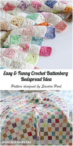Crochet Battenberg Bedspread Ideas with Free Pattern Crochet Bedspread Pattern, Crochet Quilt, Crochet Blocks, Afghan Crochet Patterns, Crochet Squares, Crochet Motif, Baby Blanket Crochet, Crochet Baby, Crochet Blankets
