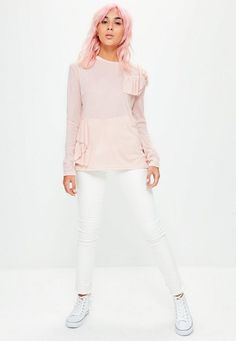 b0f5a1d109 Pink Frill Long Sleeve Top