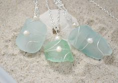 Seaglass Bridesmaids Necklaces - Set of Three Bottleneck Necklaces. $40.00, via Etsy.