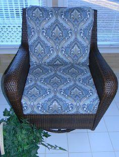 Blue & Tan Paisley Cushion for Outdoor Deep by PillowsCushionsOhMy, $99.99