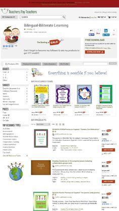 TPT SALE. ..SALE. ..SALE. ..  HTTP:// WWW.TEACHERSPAYTEACHERS.COM / STORE / BILINGUAL-BILITERATE-LEARNING