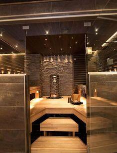 Sauna on pakko olla :) Villa Adele - Sauna Sauna Steam Room, Sauna Room, Design Sauna, Modern Saunas, Sauna Hammam, Piscina Spa, Japanese Bathroom, Outdoor Sauna, Ideas