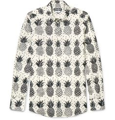 Cut from crisp cotton-poplin in a slim fit, this shirt by <a href='http://www.mrporter.com/mens/Designers/Dolce_and_Gabbana'>Dolce & Gabbana</a> is printed with a variety of pineapples. It's finished with considered tailoring details to keep it from feeling too casual, such as a crisp back box pleat, mitered cuffs, and a neat classic collar. Keep your styling simple with black jeans and sneakers.