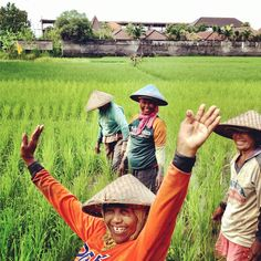 Local smiles in Canggu, Bali. Working the ricefields is hard but happy work!