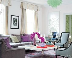 "The above home of Stila owner Jeanine Lobell illustrates how adding a chrome based table and what looks to be a vintage Murano chandlier (or a new chandelier in the style of…) to formal pieces (silk drapes, chinoiserie screens, deco style slipper chairs) ratchets up the ""hip-factor"". 70s"