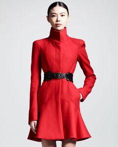 Alexander McQueen Pre-Fall 2013 Wool Flounce-Hem Dress Coat