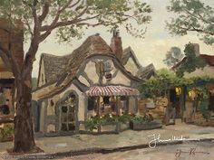 Tuck Box Tea Room, Carmel by Thomas Kinkade is a signed numbered limited edition on canvas published from a Thomas Kinkade painting. Texas Art Depot is the Authorized Thomas Kinkade Dealer, Gallery in East Texas and Palestine, Texas Thomas Kinkade Art, Thomas Kincaid, Kinkade Paintings, Art Thomas, Carmel By The Sea, Sea Art, Painting Inspiration, Art Gallery, Scenery
