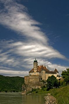 "Castle Schönbühel, Wachau region, Austria. Schönbühel stands on the edge of a high, and uneven, cliff in the Austrian valley of Wachau. Known as the ""Keeper of the Wachau,"" the castle has stood here for more than 1000 years."