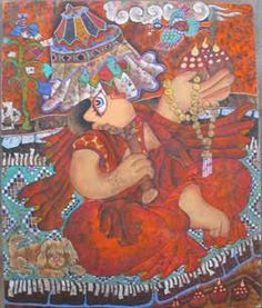 """Join us for a contemporary #Tibetan #art exhibition at Trace Foundation in New York, November 6 - December 21, 2014. gaton.trace.org """"Dancing Nun"""" (2004) by #Dedron, from a private collection"""
