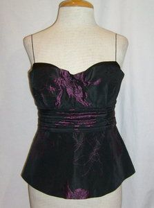 Size S Elie Tahari Evening Top Blouse Black Purple Floral Print Spaghetti Strap
