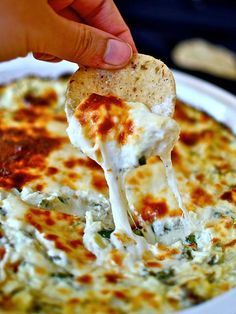 SPINACH ARTICHOKE DIP No dip list is complete without this OG of melty goodness. This particular recipe serves up a double dose of cheese plus a combo of sour cream and cream cheese, you know, for good measure.