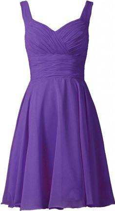 ANTS Women's V-neck Chiffon Bridesmaid Dresses Short Prom Gown Size 4 US Navy Blue