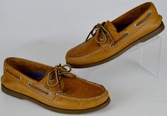 men's Sperry Top-Sider 2-Eye Tan Camel Leather Original Boat Shoes Loafers 11 M  #SperryTopSider #Loafers