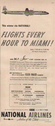 1953 National Airlines DC-7 to Miami Star Fleet~Dc-6 Daylight Club Coach Ad